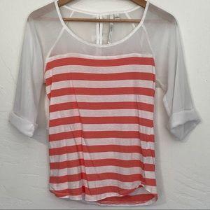 LC Lauren Conrad sheer cold shoulder stripe blouse